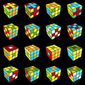 Rubik's cube different pattern on black background 3d render — Stock Photo