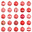 Christmas red baubles big back 25 on white background — Stock Photo #7183519