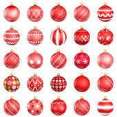 Christmas red baubles big back 25 on white background — Stock Photo
