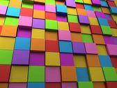 抽象背景-不同颜色的多维数据集 — 图库照片