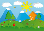 Peaceful summer landscape — Stock Vector