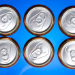 Stock Photo: Shiny soda.beer cans viewed from above