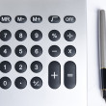 Постер, плакат: Calculator with pen