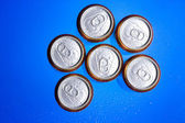 Shiny soda. beer cans viewed from above — Stock Photo