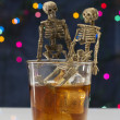 Stok fotoğraf: Skeleton with Whisky. Alcoholism problem