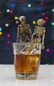 Skeleton with a Whisky. Alcoholism problem — Stock Photo