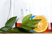 Laboratory flask and orange — Stock Photo