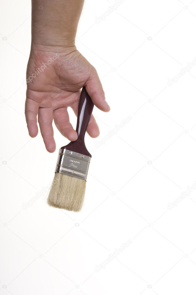 Hand with brush isolated on white background — Stock Photo #7264083