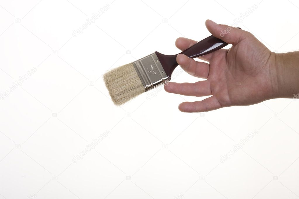 Hand with brush isolated on white background — Stock Photo #7264085