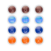 Round Icons zodiac signs — Stock Vector