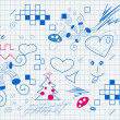 Child's drawing in the notebook - Imagens vectoriais em stock