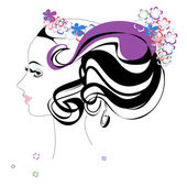 Stylized beautiful woman with flowers — Stock Vector