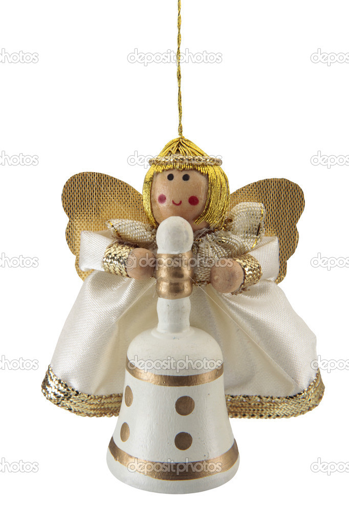 Angel, Christmas tree ornament, cut out on white background. — Stock Photo #7428840