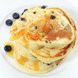 Blueberry pancakes high angle - Stock Photo