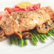 Stock Photo: Pan-seared salmon steak and veg
