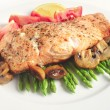 Royalty-Free Stock Photo: Pan-seared salmon steak and veg