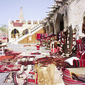 Traditional Arabian tent, furnished in the typical style. — Stock Photo