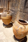 Ancient minoan jars at Phaistos Crete — Stock Photo