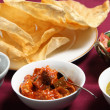 Chutney, papadums and salad — Stock Photo
