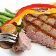 Veal sirloin steak cut open - Stock Photo