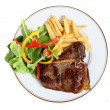 Stock Photo: Seared T-bone steak meal from above