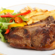 Stock Photo: Pan-seared t-bone steak meal