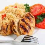 Cajun rice and chicken horizontal — Stock Photo
