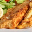 Battered fish with chips and salad — Stok fotoğraf