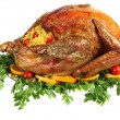 Roast turkey on herb bed - Stock Photo