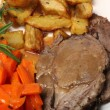 Stock Photo: Roast lamb dinner