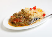 Okra stew and cajun rice — Stock Photo