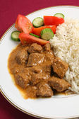 Beef korma and rice vertical — Stock Photo