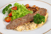 Veal escalope and mushrooms in cream sauce — Stock Photo