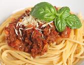 Spagetti bolonez yakın çekim — Stok fotoğraf