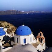 Blue church Santorini — Stock Photo