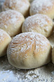 Freshly home-baked baps or scottish morning rolls — Stock Photo