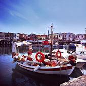 Fishing fleet in Greek harbour — Stock Photo