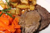 Roast lamb dinner — Stock Photo
