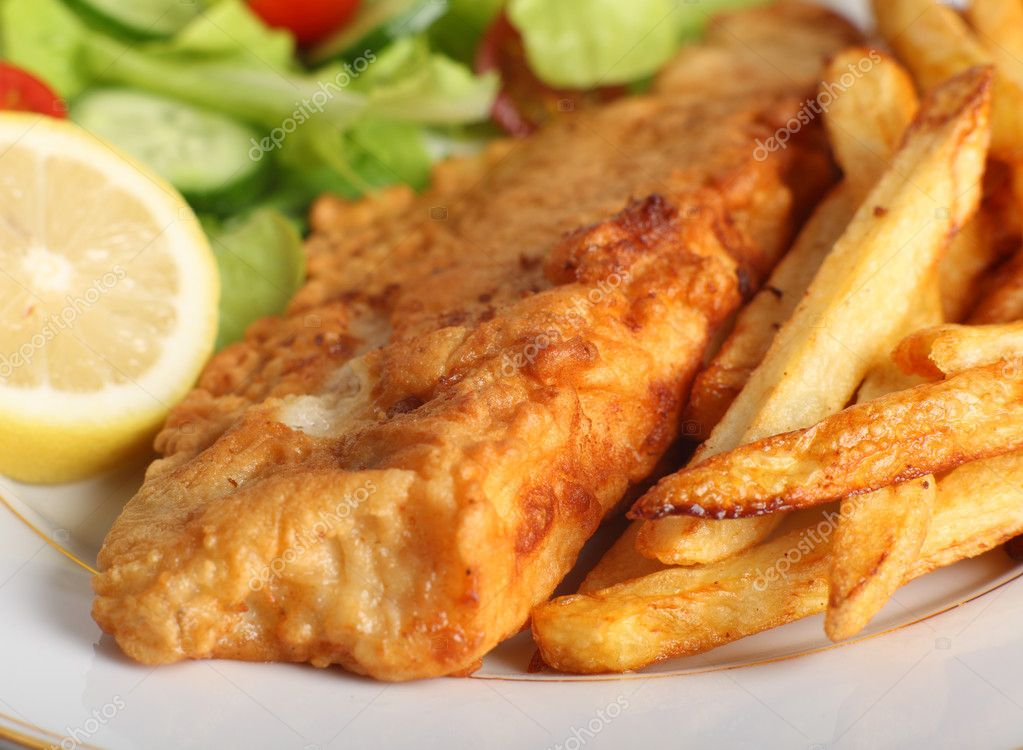 Battered fish with chips and salad stock photo paul for Fish and salad