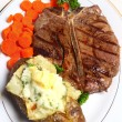 Stock Photo: Porterhouse steak meal top view