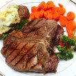 T-bone steak horizontal from above — Stock Photo