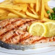 Stock Photo: Grilled salmon steak close-up