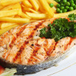Stock Photo: Grilled salmon steak with veg
