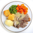 Stock Photo: Lamb dinner from above