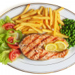Stock Photo: Grilled salmon steak meal