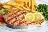 Grilled salmon steak close-up — Stock Photo