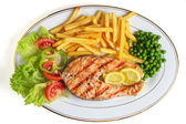 Grilled salmon steak meal — Stock Photo
