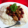Stock Photo: Chili con carne and rice from above