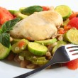 Italian chicken, with zucchini, beans and tomato - Stock Photo