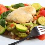 Italian chicken, with zucchini, beans and tomato — Stock Photo #7051745